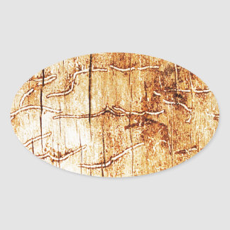 brown art burn smoke Abstract Antique Junk Style F Oval Sticker