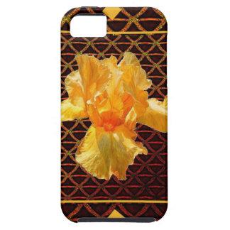 BROWN ART DIAMOND  PATTERN GOLDEN BEARDED  IRIS iPhone 5 COVER