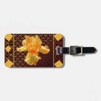 BROWN ART DIAMOND  PATTERN GOLDEN BEARDED  IRIS LUGGAGE TAG