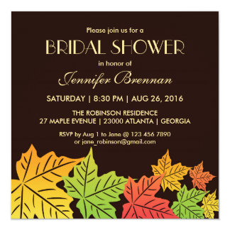 Brown Autumn Falling Maple Leaf Wedding Invitation