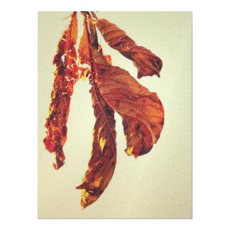 Brown autumn leaf custom invitation