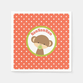 Brown Baby Monkey with Pacifier NomNomNom Disposable Napkins
