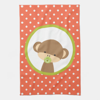 Brown Baby Monkey with Pacifier on Polka Dots Tea Towel