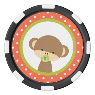 Brown Baby Monkey with Pacifier Poker Chips
