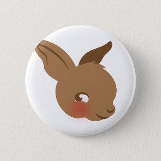 brown baby rabbit face 6 cm round badge