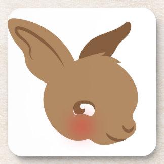 brown baby rabbit face beverage coaster