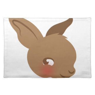 brown baby rabbit face placemat