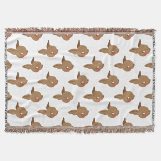 brown baby rabbit face throw blanket
