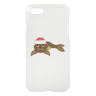 Brown Baby Seal with Santa Hat & Gold Bell iPhone 7 Case