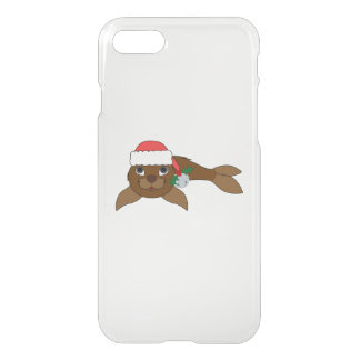 Brown Baby Seal with Santa Hat & Silver Bell iPhone 7 Case