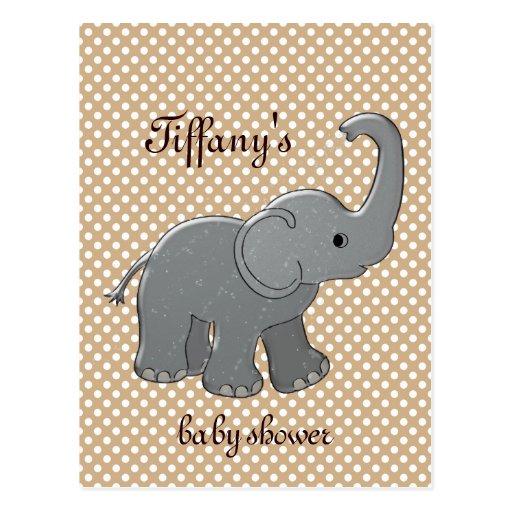brown baby shower elephant postcard