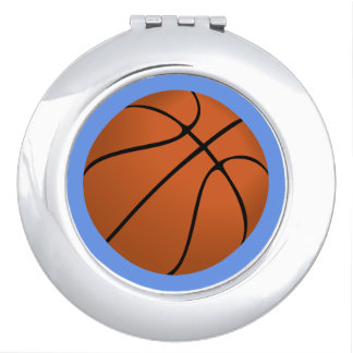 Brown Basketball Ball on Cornflower Blue Mirror For Makeup