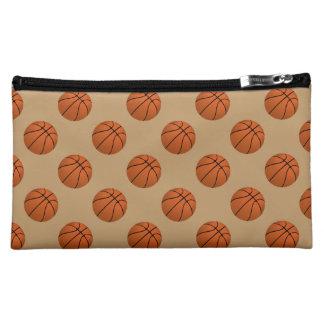 Brown Basketball Balls on Camel Brown Cosmetic Bag