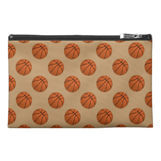 Brown Basketball Balls on Camel Brown Travel Accessory Bag