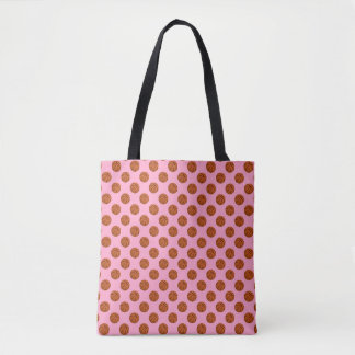 Brown Basketball Balls on Carnation Pink Tote Bag