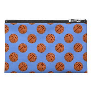 Brown Basketball Balls on Cornflower Blue Travel Accessory Bag