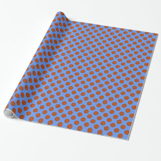 Brown Basketball Balls on Cornflower Blue Wrapping Paper