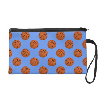 Brown Basketball Balls on Cornflower Blue Wristlet