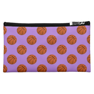 Brown Basketball Balls on Lavender Purple Cosmetic Bag