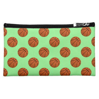 Brown Basketball Balls on Mint Green Makeup Bag