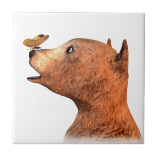 Brown Bear and Butterfly Small Square Tile