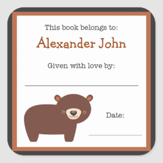 Brown Bear book plate - Forest Animals bookplate Square Sticker