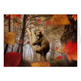 Brown bear climbing on tree card