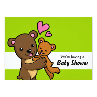 "Brown Bear customisable Baby Shower Invitation 5"" X 7"" Invitation Card"