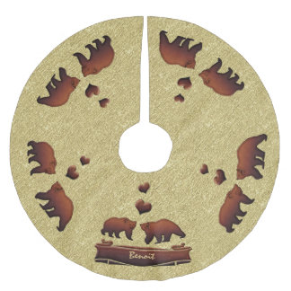 Brown Bear Gold Monogrammed Country Christmas Brushed Polyester Tree Skirt