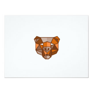 Brown Bear Head Low Polygon 17 Cm X 22 Cm Invitation Card