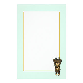 Brown Bear Holding a Yellow Flower saying Hello Stationery