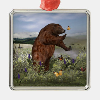 Brown Bear in a Field Silver-Colored Square Decoration
