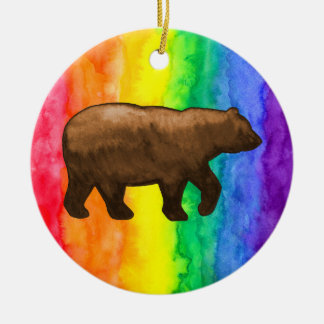 Brown Bear on Rainbow Wash Circle Ornament