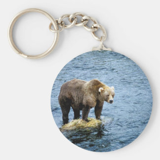 Brown bear on rock in river basic round button key ring