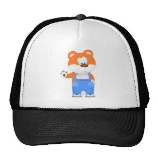 Brown Bear Waving Overalls Trucker Hat