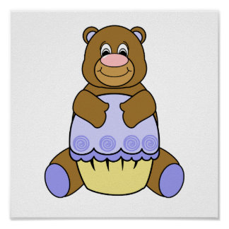 Brown Bear With Blue Cupcake Print