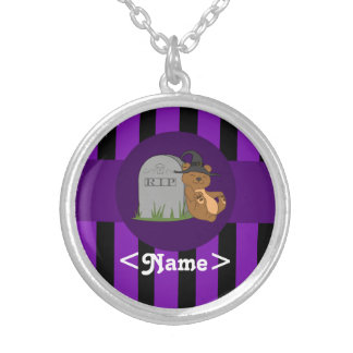 Brown Bear with Grave Stone & Purple Stripes Round Pendant Necklace
