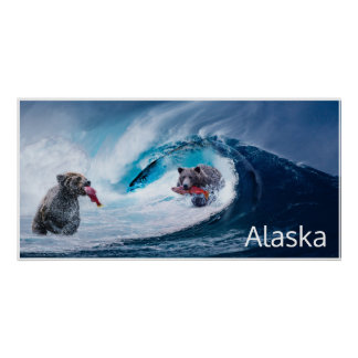 brown bears salmon fishing Ursla Alaska fantasy Poster