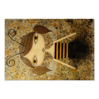 """""""Brown Bee Girl"""" 19 x 13 inch Poster! Poster"""