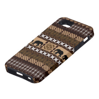 Brown & Beige African Pattern With Elephants Tough iPhone 5 Case