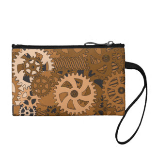 Brown Beige and White Steampunk Gears Wristlet Pur