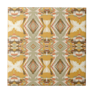 Brown Beige Aztec Design Small Square Tile