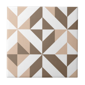 Brown Beige Geometric Cube Pattern Small Square Tile