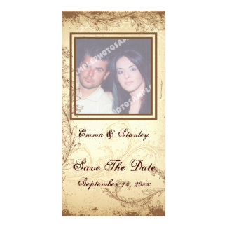 Brown beige scroll leaf wedding Save the Date Customized Photo Card