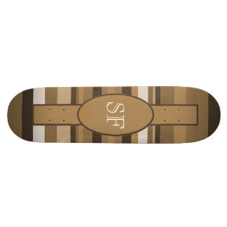 Brown Beige Stripe Monogram 19.7 Cm Skateboard Deck