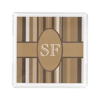 Brown Beige Stripe Monogram Acrylic Tray