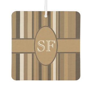Brown Beige Stripe Monogram Car Air Freshener