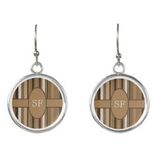 Brown Beige Stripe Monogram Earrings