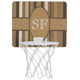 Brown Beige Stripe Monogram Mini Basketball Hoop