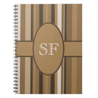 Brown Beige Stripe Monogram Notebook